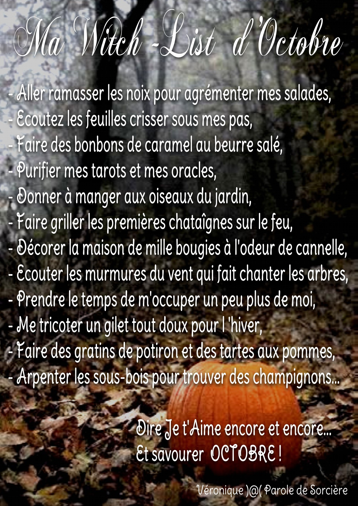 ma witch list - octobre